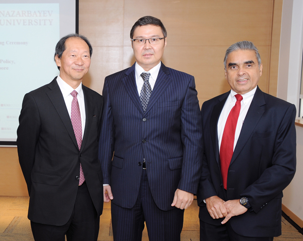 Left to Right: Dr. Shigeo Katsu, President of Nazarbayev University, His Excellency Yerlan Baudarbek-Kozhatayev, Ambassador of Kazakhstan in Singapore, Australia and New Zealand and Kishore Mahbubani, Dean of Lee Kuan Yew School of Public Policy